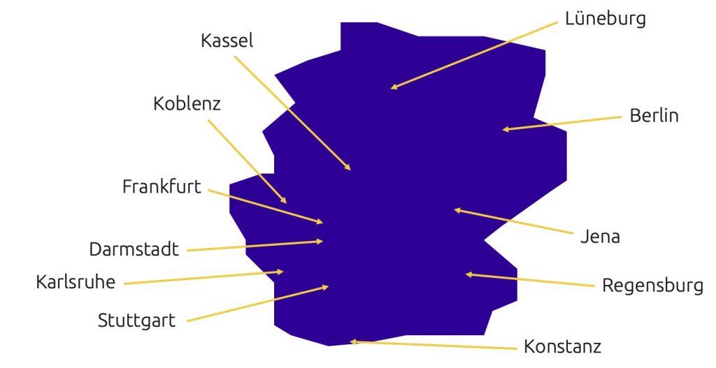 Universitäten und Hochschulen in Kassel, Koblenz, Frankfurt, Darmstadt, Karlsruhe, Stuttgart, Lüneburg, Berlin, Jena, Regensburg und Konstanz